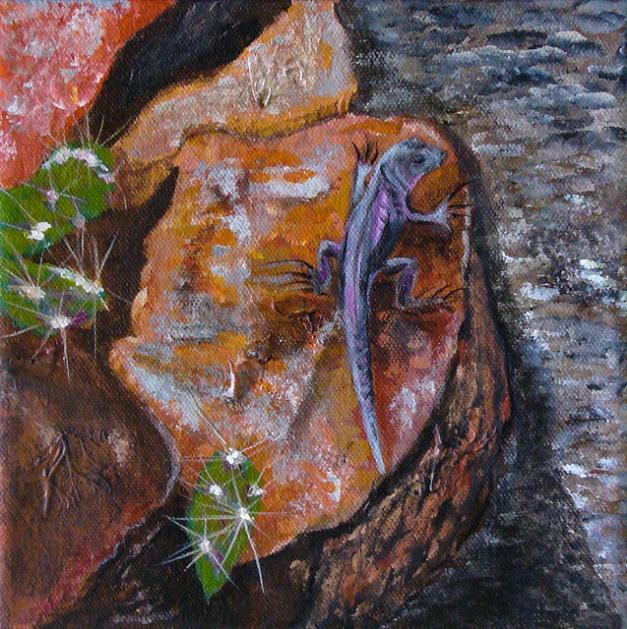 "Tramway Lizard - 8""x8"", acrylic on canvas, 2013"