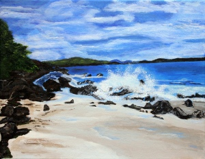 A Day at Denis Bay - 11X10, Acrylic on Canvas, 2013