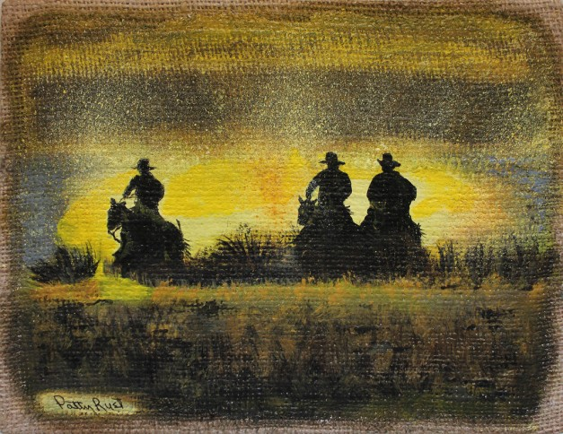 "Cowboys - 8""x10"" acrylic on burlap, 2014"