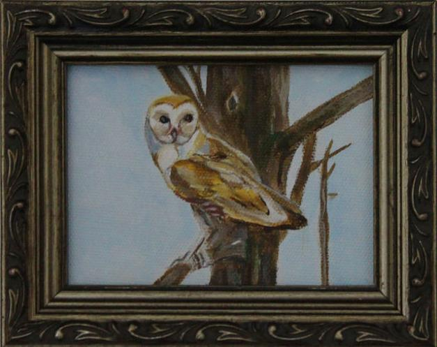"Owl Miniature - 2 1/2""x 3 "" Acrylic Canvas, 2014"