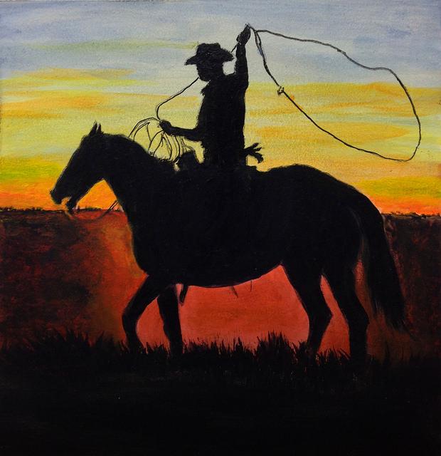 """Cowboy Silhouette - 6""""x6"""", Acrylic on Aqua Board, 2014"""