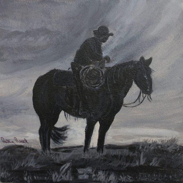 """Cowboy Silhouette 2 - 6""""x6"""", Acrylic on Aqua Board, 2014"""