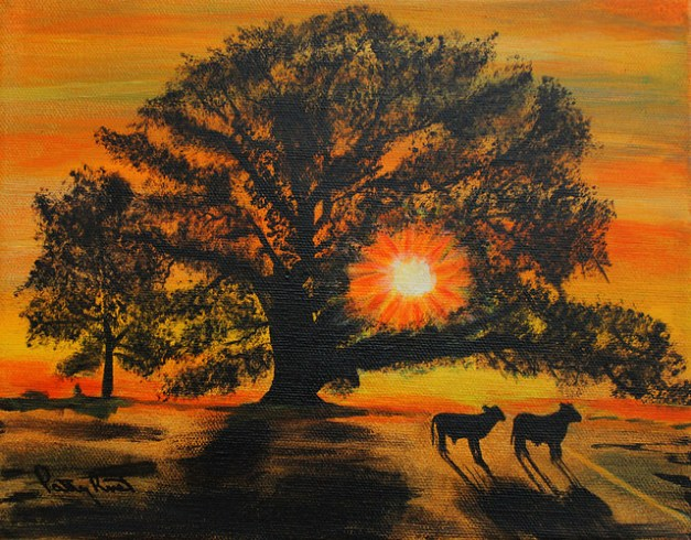 "Sunset - 8""x10"" Acrylic on Canvas, 2014"