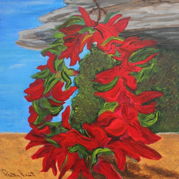 "Red Chile Wreath - 6""x6"", Acrylic on Aqua Board, 2014"