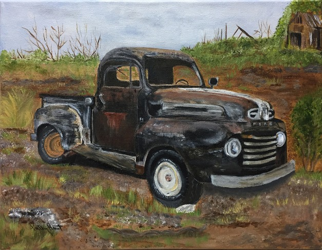 "Don's Old Truck- 11""x14"", acrylic on canvas, 2016 - Sold"