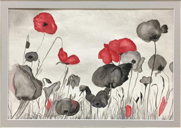 "Poppies For Shen -11""x14"", Watercolor on Paper 2016 - Sold"