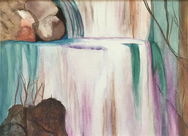 "Linda's Waterfall- 11""x14"", Watercolor on Paper 2016 - Sold"