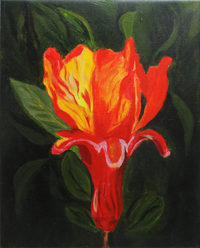 "Flower on Fire- 11""x14"", acrylic on canvas, 2016"