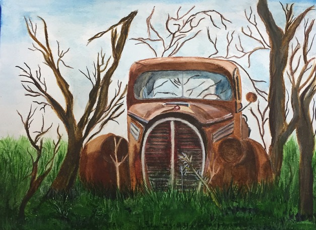 "Old Truck 8""x10"", Watercolor 2017"