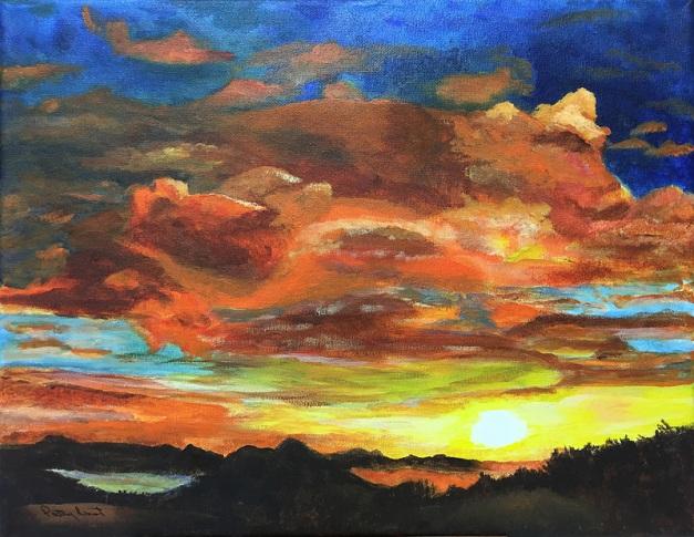 "Island Sunrise 11""x14"", Acrylic 2017"